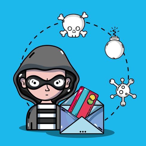 hacker di persona al programmatore di virus nel sistema