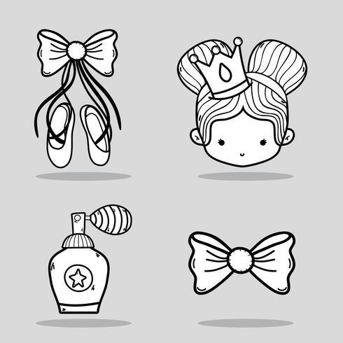 set de ballet accesorios decoracion diseño vector