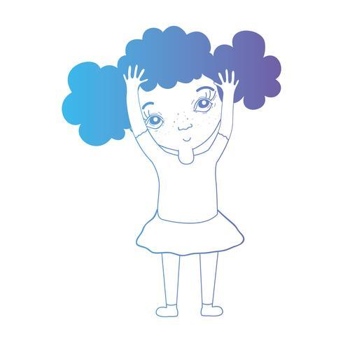 line avatar flicka med frisyr och kläder
