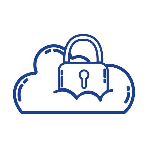 dados de nuvem de silhueta com cadeado para informações de segurança
