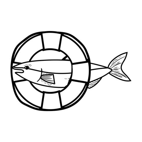 line fish with life buoy object design