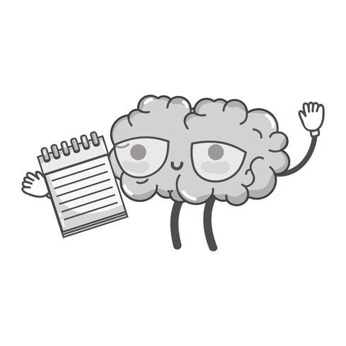 Graustufenkawaii glückliches Gehirn mit Notizbuchwerkzeug