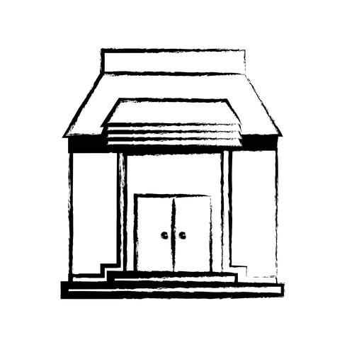 educação escolar figura com design de telhado e portas