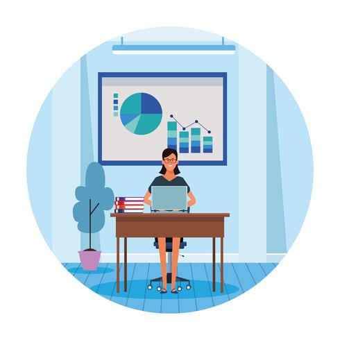 worker woman in computer desk vector