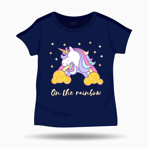 Cute Unicorn illustration on T Shirt kids template. Vector illustration