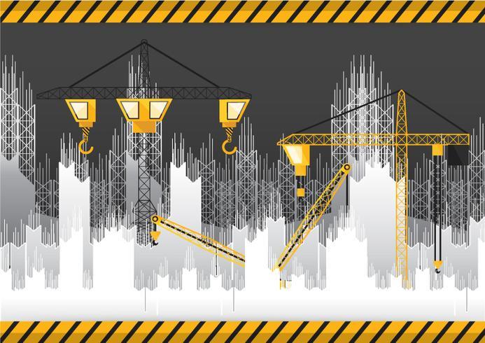 Papperssnitt under konstruktionsbyggnad och kran