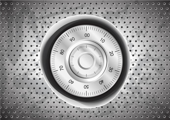 Safe lock button inside circle holes on grunge stainless steel background