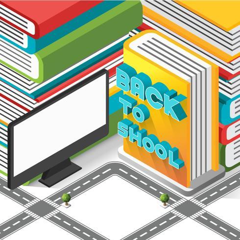 Isometrisk tillbaka till skolatecken på boken med datorträdet och vägen