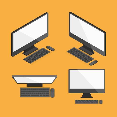 Frente isométrica de desktop de computador e design plano de vista superior