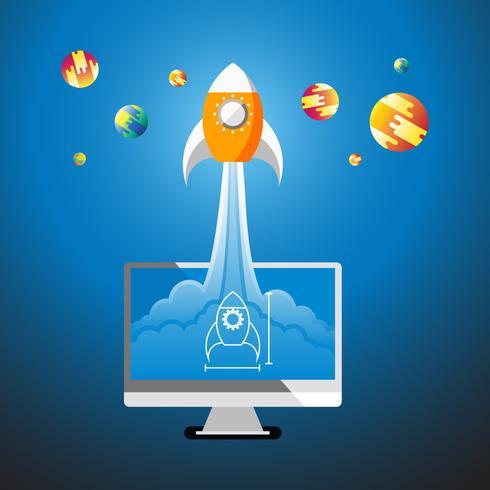 Platte stijgende raket van computer bureaublad naar de ruimte vectorillustratie
