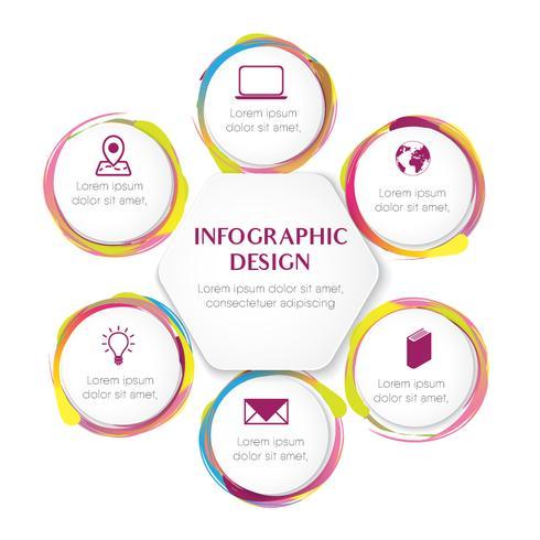 Plantilla de infografía para seis opciones de estilo de color de agua en ilustración vectorial círculo