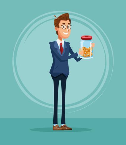 Businessman banker cartoon vector