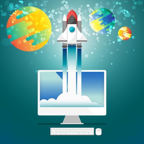 Flache steigende Rakete vom Computerdesktop zur Raumvektorillustration