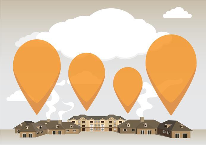 Plantilla de infografía del edificio con volar pin naranja. Eps10, vector, ilustración