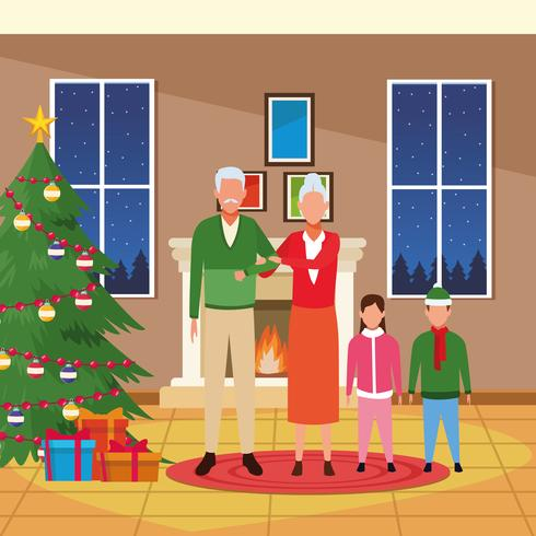 Merry Christmas in family vector