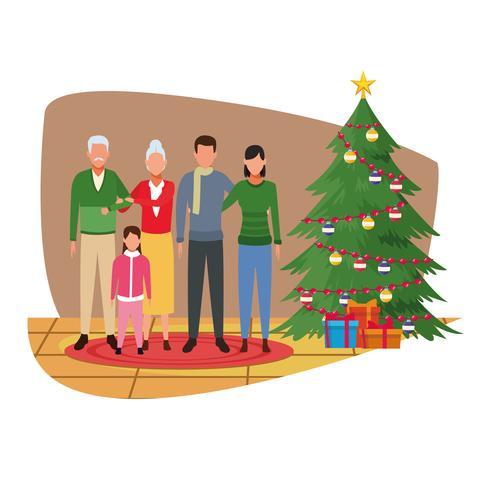 Feliz navidad en familia vector