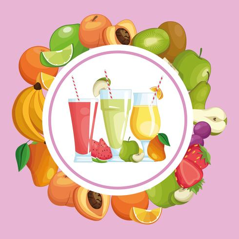 smoothies with fruit round frame vector