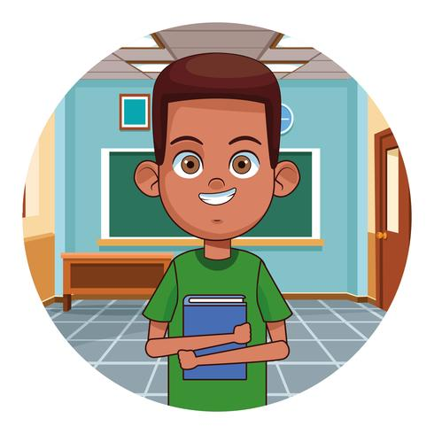 Kid reading book in classroom vector