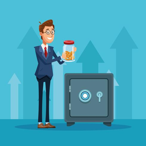 Dibujos animados de empresario banquero vector
