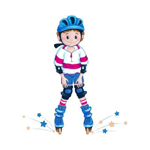 Boy teenager in a blue helmet knee learns to ride roller skates. Children in the sport. Outdoor activities. Cartoon vector character.
