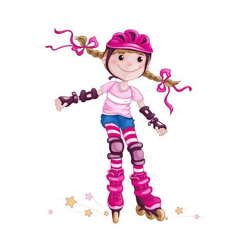 Een meisje in een roze helm en beschermende accessoires skaten. Kinderen in de sport. Skate op rolschaatsen. Vector stripfiguur.