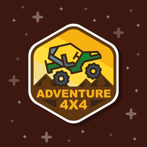 Bandeira de distintivo de aventura 3 x 3 de estrada. Ilustração vetorial