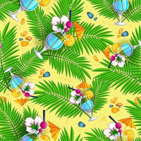 Modèle de plage d'été sans soudure avec des feuilles de palmier et des cocktails sur fond de sable jaune.