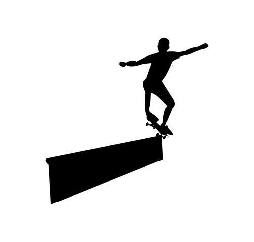Skateboard slipar svart silhuett