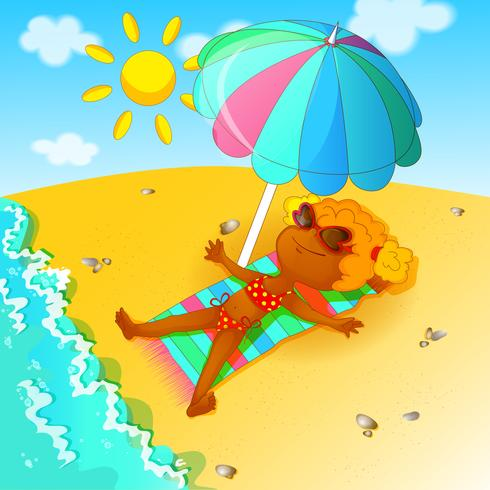 A girl in a bathing suit sunbathes over the beach under a beach umbrella.