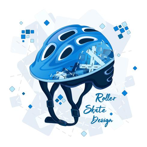 Blue helmet with a geometric pattern for super scooters. Sports fashion for young people, spring design. Vector illustration.