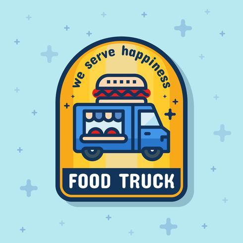 Bandeira de distintivo de serviço de caminhão de comida. Ilustração vetorial