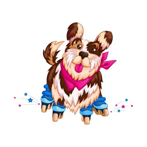 Cute sports dog on roller skates. Sports kids cartoon character. Steep roller skater. Vector illustration