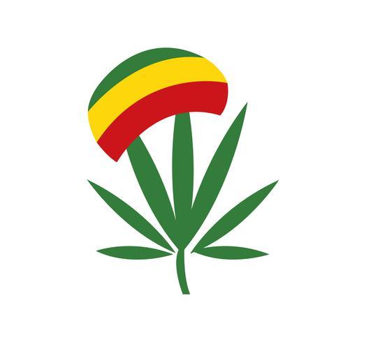 cannabisblad met rastahoed