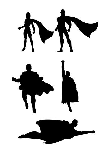 Superhéroe volando siluetas