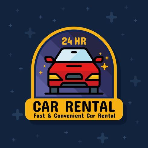 Bandera de la etiqueta de la insignia del servicio de alquiler de coches