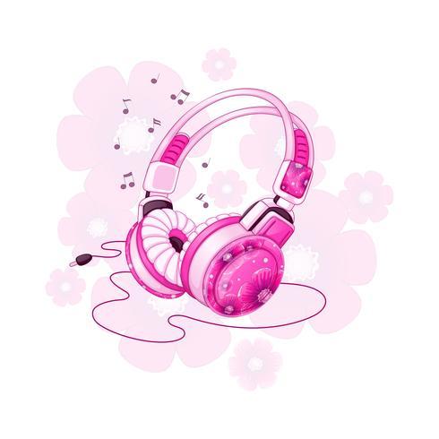 Elegantes auriculares estéreo con un diseño floral rosa. Accesorios musicales para deportes. Ilustración de dibujos animados de vector