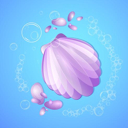 Composition estivale de la mer avec une coquille, des galets marins et des bulles d'air. vecteur