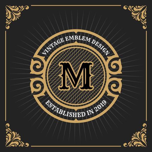 Diseño de plantilla de banner de lujo vintage para etiqueta, marco, etiquetas de producto. Diseño de emblema retro. Ilustración vectorial