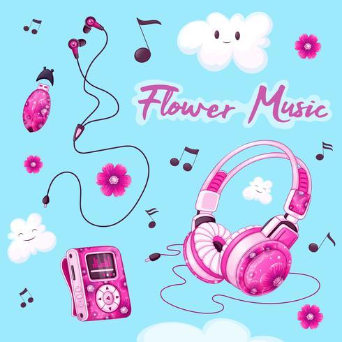 Uppsättning av musikaliska tillbehör med ett rosa blommönster. MP3-spelare, hörlurar, vakuumhörlurar, USB-flashenhet för musik, roliga moln, noter.