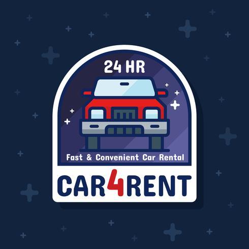 Bandera de la etiqueta de la insignia del servicio de alquiler de coches vector