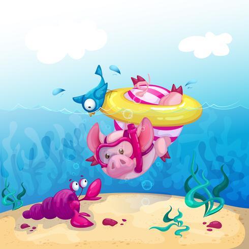 Un cerdo divertido en un traje de baño a rayas y en un anillo de goma amarillo se zambulle en el mar y mira el cáncer marino. Ilustración de dibujos animados de diversión de verano.