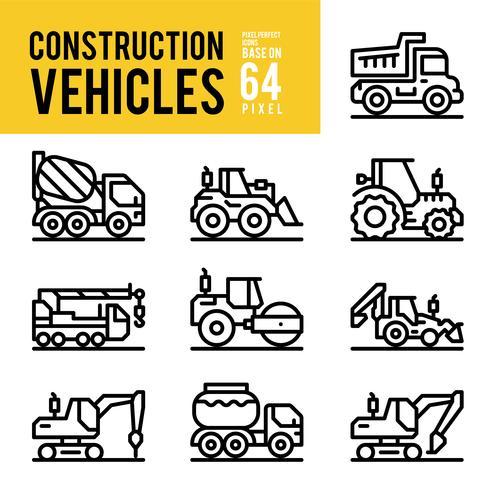 Vehículos de construcción y los iconos de esquema de transporte. Pixel Perfect Icon Base en 64px.