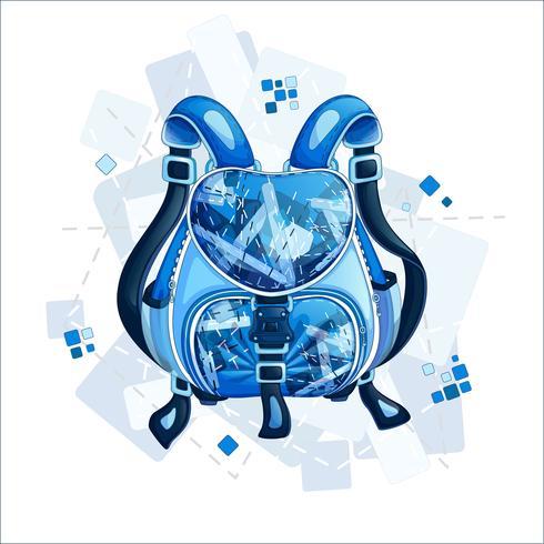 Elegante mochila deportiva de color azul con un estampado geométrico. Muelles de diseño de primavera y accesorios. Ilustracion vectorial