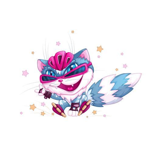 Rolig blå katt i hjälm och rullskridskor. Sport barn seriefigur. Brant rullskridskoåkare. Vektorillustration