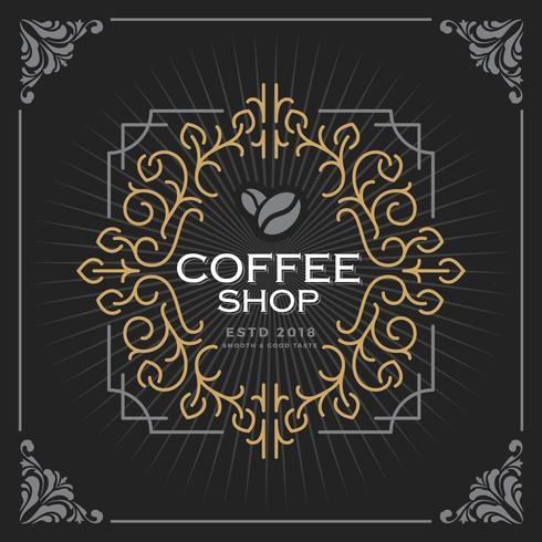 Logo della caffetteria. Design vintage modello di banner di lusso per etichette, telaio, tag prodotto. Emblema retrò design. Illustrazione vettoriale