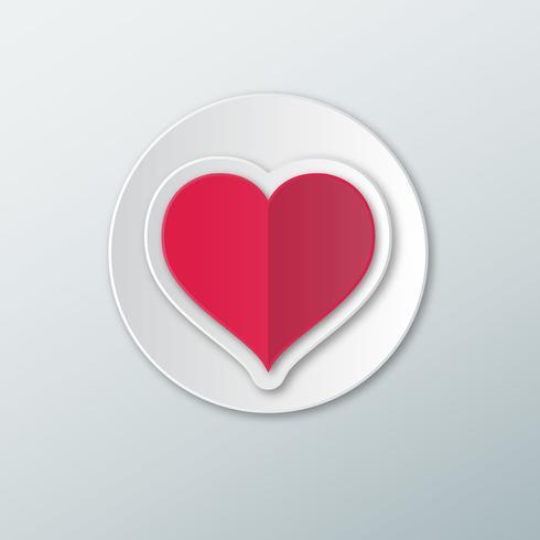 Corazón rojo en un círculo blanco