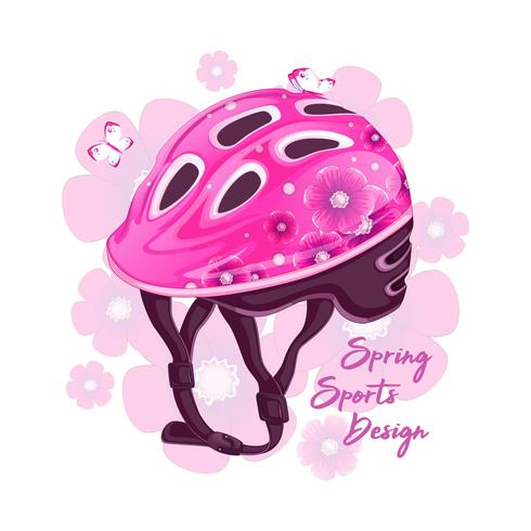 Pink helmet with a floral pattern for roller skating. Sports fashion for young people, spring design. Vector illustration.
