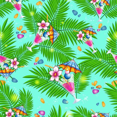 Modello senza cuciture della spiaggia di estate con le foglie di palma e i cocktail sul fondo blu del mare.