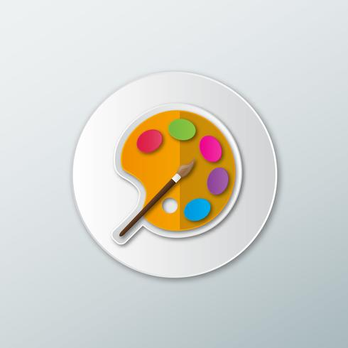 Icon palette with brush  vector