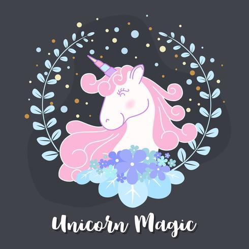 Cute unicorn and flower wreath illustration design. Vector illustration